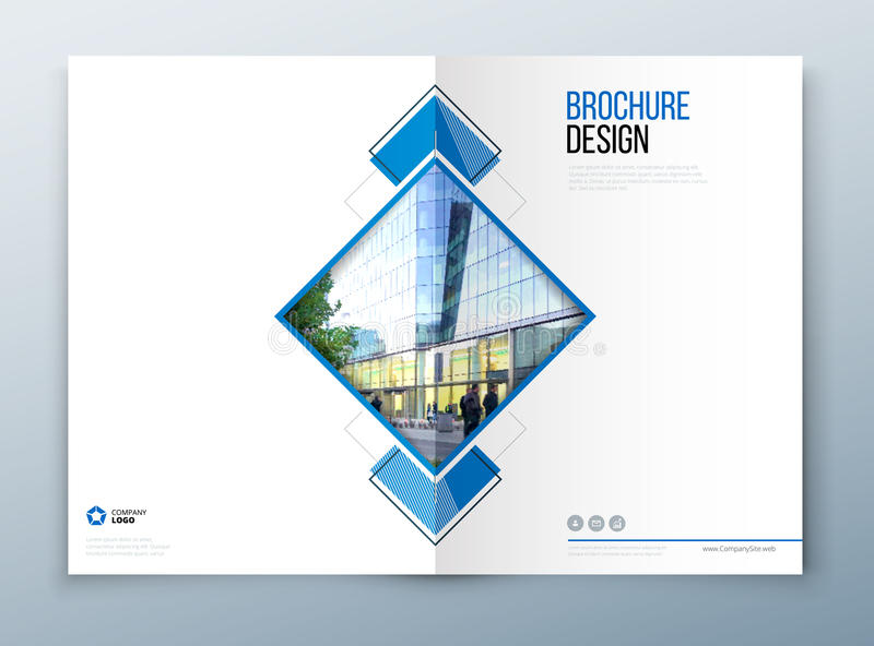 Okładkowy broszurka szablonu projekt Zmrok - błękit Korporacyjnego biznesu sprawozdanie roczne, katalog, magazyn, ulotki mockup k ilustracji