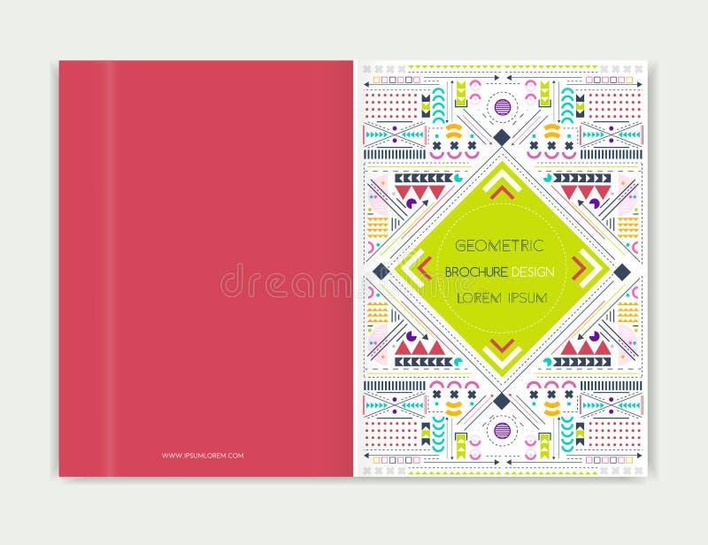 Okładkowy projekt dla broszurki ulotki ulotki Nowożytnego tła kreskowa sztuka Abstrakcjonistyczny geometryczny kolorowy tło ilustracji