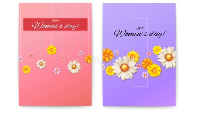 Okładkowy projekt, kwiecisty wzór wiosen wildflowers Set wektorowy plakat z okwitnięcie kwiatami Powitania Szczęśliwe kobiety royalty ilustracja