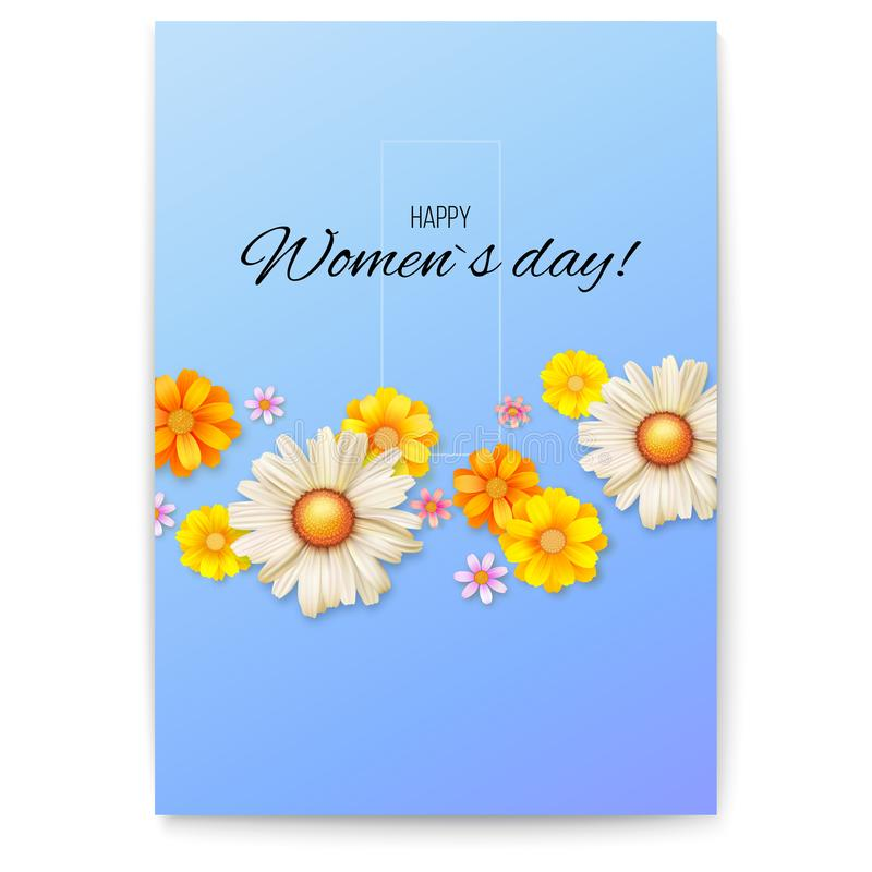 Okładkowy projekt, kwiecisty wzór wiosen wildflowers Kwiecisty wektorowy plakat z okwitnięciem Powitanie karta dla Szczęśliwych k ilustracji