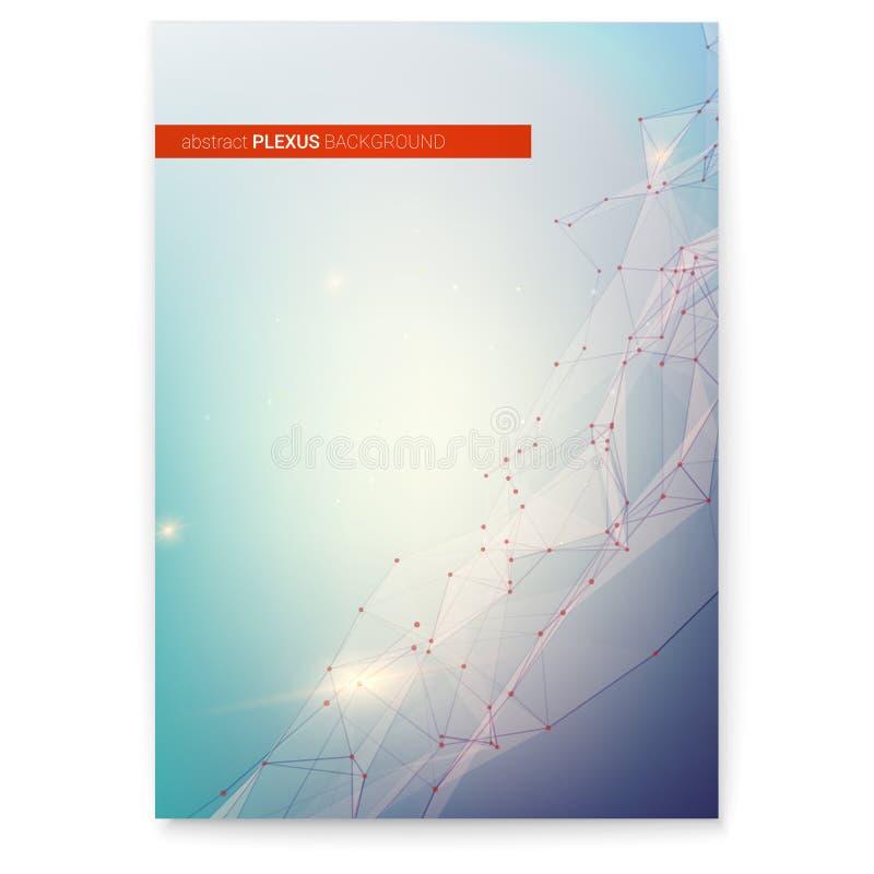 Okładkowy projekt, Plexus cyfrowy abstrakcyjne tło Pojęcie sieć, unaocznienie cyfrowy świat Związane kropki royalty ilustracja