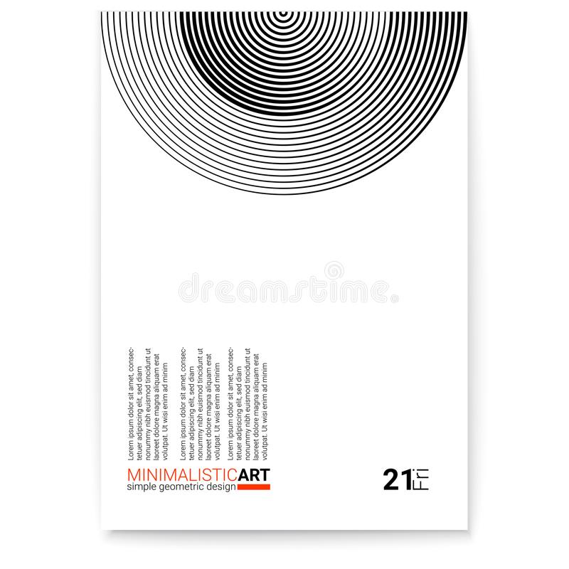 Okładkowy projekt z nowożytną geometryczną minimalistic sztuką Kreatywnie plakat z prostym kształtem w bauhaus stylu Nowożytny cy ilustracji