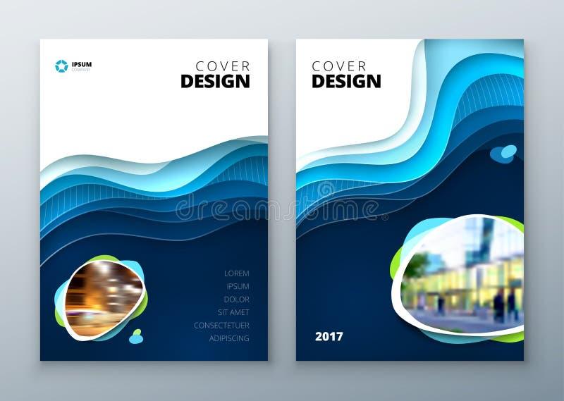 Okładkowy projekta szablon Papier rzeźbi abstrakt pokrywę dla broszurki ulotki magazynu lub katalogu projekta błękita pokrywy ilustracji
