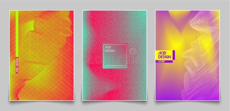 Okładkowy projekta szablonu set Abstrakcjonistyczny fluorescencyjny kolor i linie, nowożytny gradientu stylu tło Dla prezentaci,  royalty ilustracja