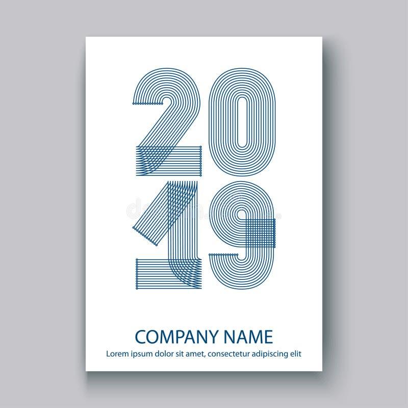 Okładkowy sprawozdanie roczne liczy 2019, nowożytnego projekta błękit na białych półdupkach ilustracja wektor