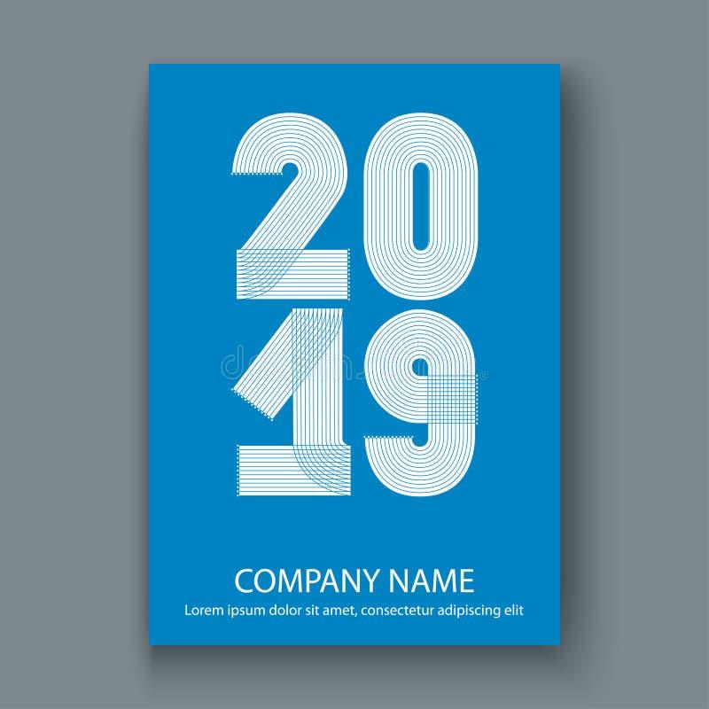 Okładkowy sprawozdanie roczne liczy 2019, nowożytnego projekta biel na błękitnych półdupkach royalty ilustracja