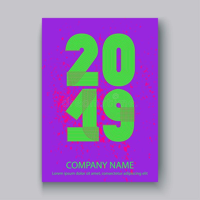 Okładkowy sprawozdanie roczne liczy 2019, nowożytnego projekta kolorowy neonowy sp ilustracja wektor