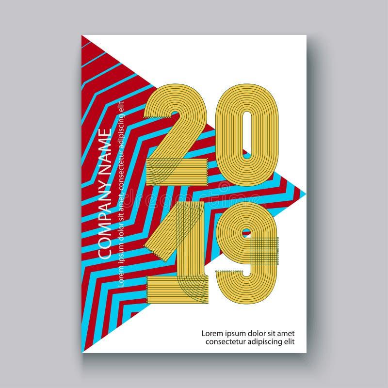 Okładkowy sprawozdanie roczne liczy 2019, nowożytnego projekta kolorowy neonowy zi royalty ilustracja