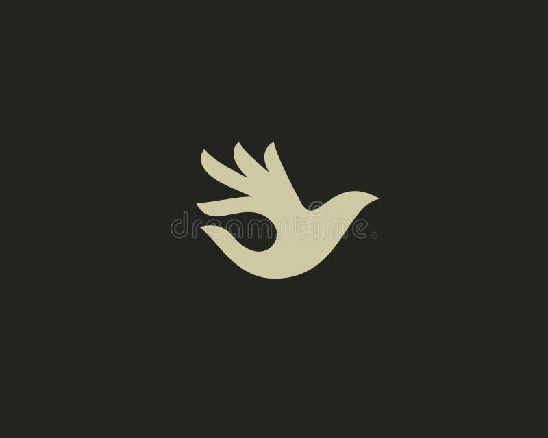 Ok bird vector logo design. Hand wings logotype. Fingers dove okay trick negative space idea symbol. vector illustration