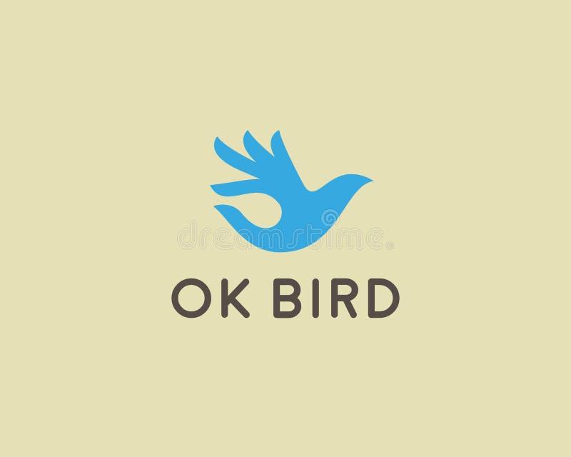 Ok bird vector logo design. Hand wings logotype. Fingers dove okay trick negative space idea symbol. royalty free illustration
