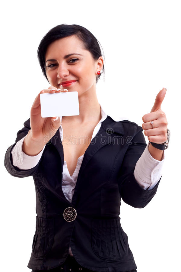 Ok business card. Female holding blank business card, making ok sign , focus on hands and card stock photography
