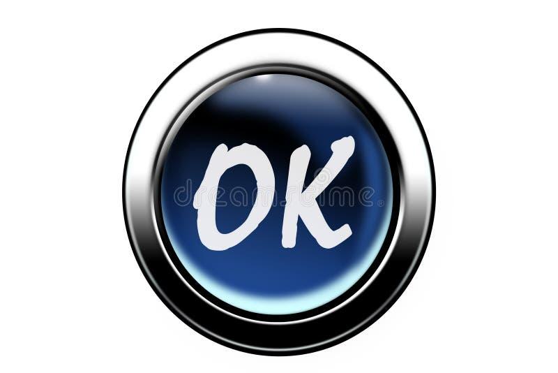 Ok button. Blue 3d ok button on white background vector illustration