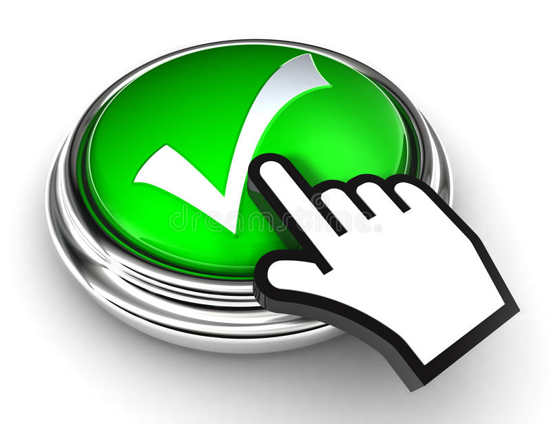 Ok Check Mark Symbol On Green Button Royalty Free Stock Photo