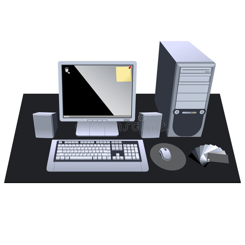 Ok computer. My Personal Computer with mouse keyboard CPU speaker and LCD monitor hi detail vector art. Scale able to any size vector illustration