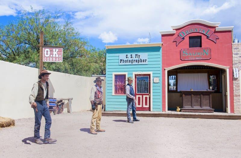 OK Corral gunfight. TOMBSTONE , ARIZONA - AUG 09 : Actors takes part in the Re-enactment of the OK Corral gunfight in Tombstone , Arizona on August 09 2014 stock photo