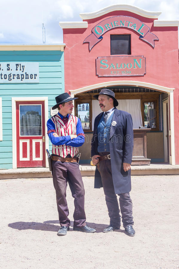 OK Corral gunfight. TOMBSTONE , ARIZONA - AUG 09 : Actors takes part in the Re-enactment of the OK Corral gunfight in Tombstone , Arizona on August 09 2014 royalty free stock images