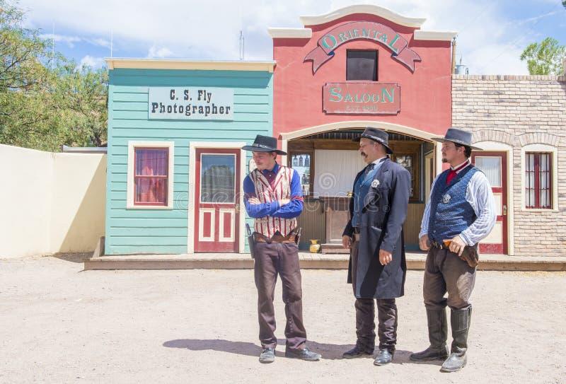OK Corral gunfight. TOMBSTONE , ARIZONA - AUG 09 : Actors takes part in the Re-enactment of the OK Corral gunfight in Tombstone , Arizona on August 09 2014 royalty free stock photos