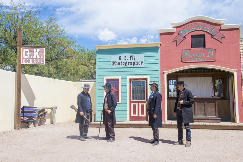 OK Corral gunfight. TOMBSTONE , ARIZONA - AUG 09 : Actors takes part in the Re-enactment of the OK Corral gunfight in Tombstone , Arizona on August 09 2014 stock photos