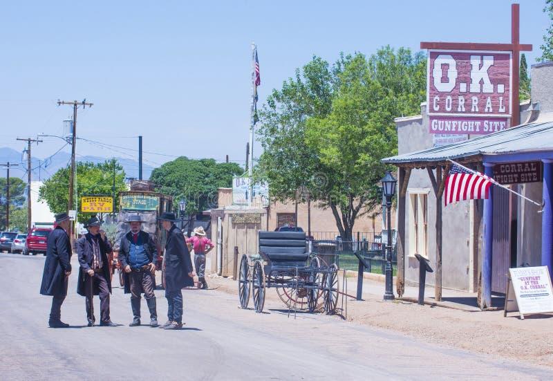 OK Corral gunfight. TOMBSTONE , ARIZONA - AUG 09 : Actors takes part in the Re-enactment of the OK Corral gunfight in Tombstone , Arizona on August 09 2014 stock photography