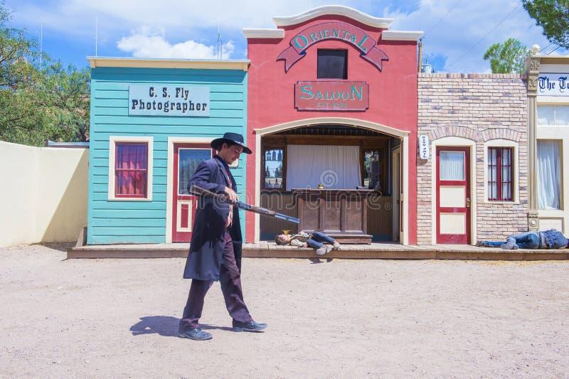 OK Corral gunfight. TOMBSTONE , ARIZONA - AUG 09 : Actors takes part in the Re-enactment of the OK Corral gunfight in Tombstone , Arizona on August 09 2014 stock images
