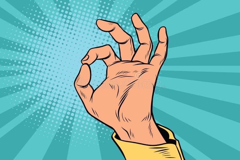 Ok CORRECT de main d'homme de signal de geste illustration de vecteur