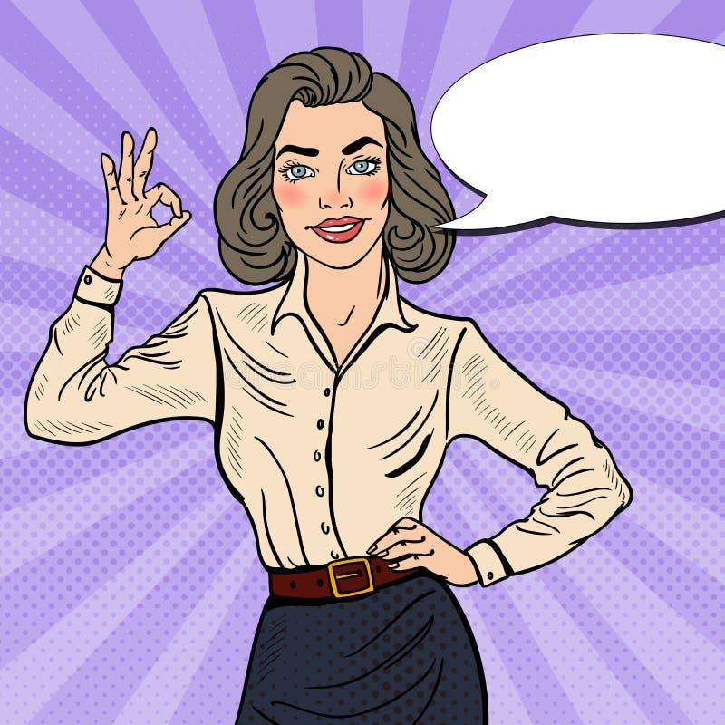 OK d'Art Successful Businesswoman Gesturing de bruit illustration de vecteur
