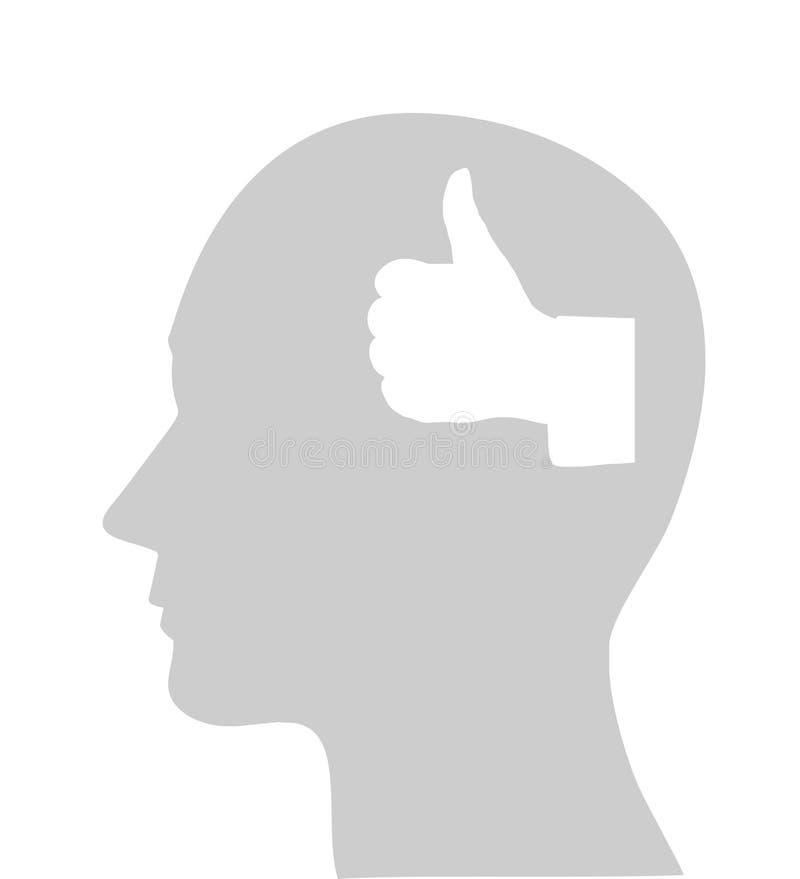 OK de tête humaine et de geste de main illustration stock