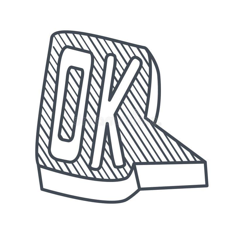 Ok de Word, calibre comique tiré par la main de bulle de la parole, objet tiré par la main noir et blanc d'isolement de Clipart illustration stock