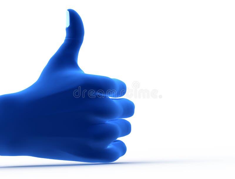 Ok gest, tecken. Blå hand arkivfoton