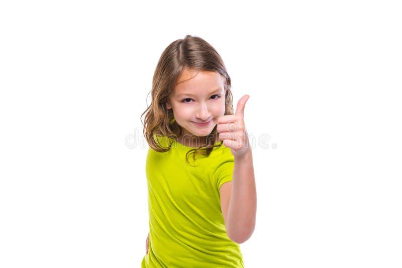 Ok gesta kciuk w górę gunny dzieciaka szczęśliwej dziewczyny na bielu obrazy royalty free
