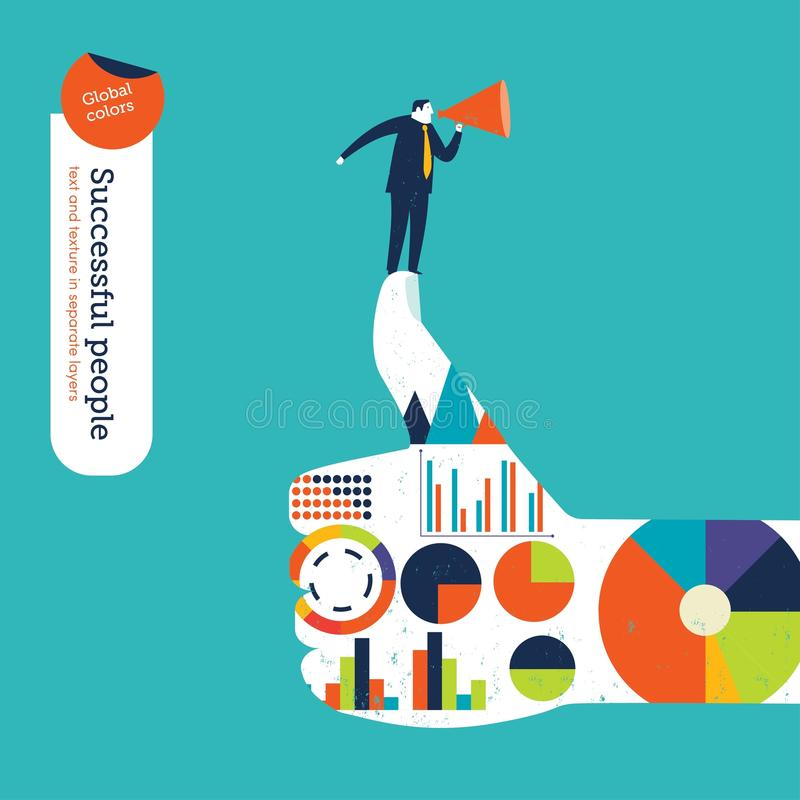 Ok hand with charts and diagrams businessman with megaphone. Vector illustration Eps10 file. Global colors. Text and Texture in separate layers royalty free stock image