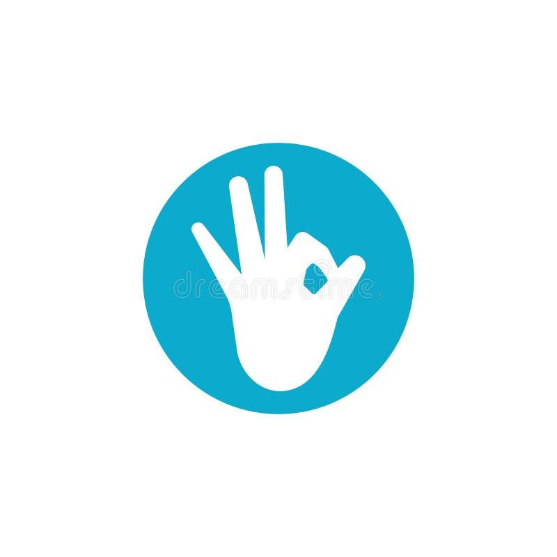 OK hand gesture ilustration. Logo vector, icon, good, symbol, illustration, sign, finger, design, abstract, isolated, concept, okay, human, creative, logotype stock illustration