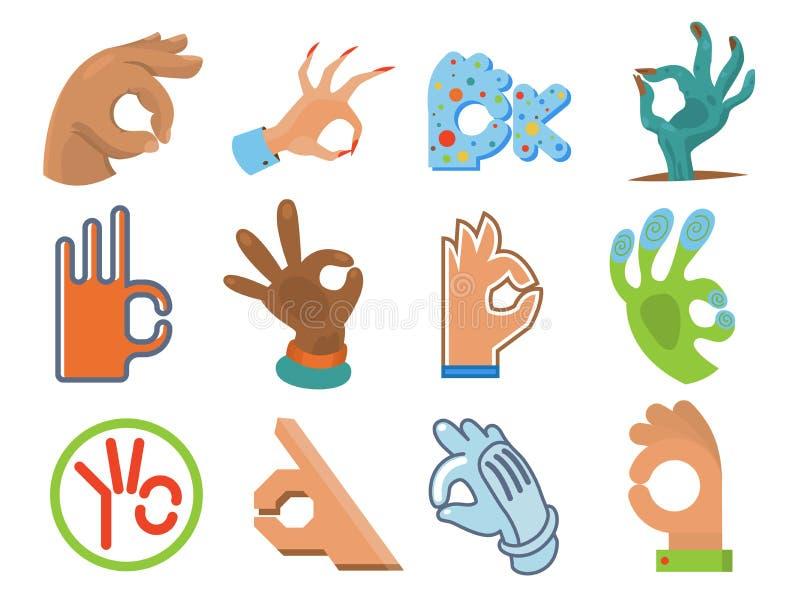 Ok hand human sign okey yes agreement signal vector illustration royalty free illustration