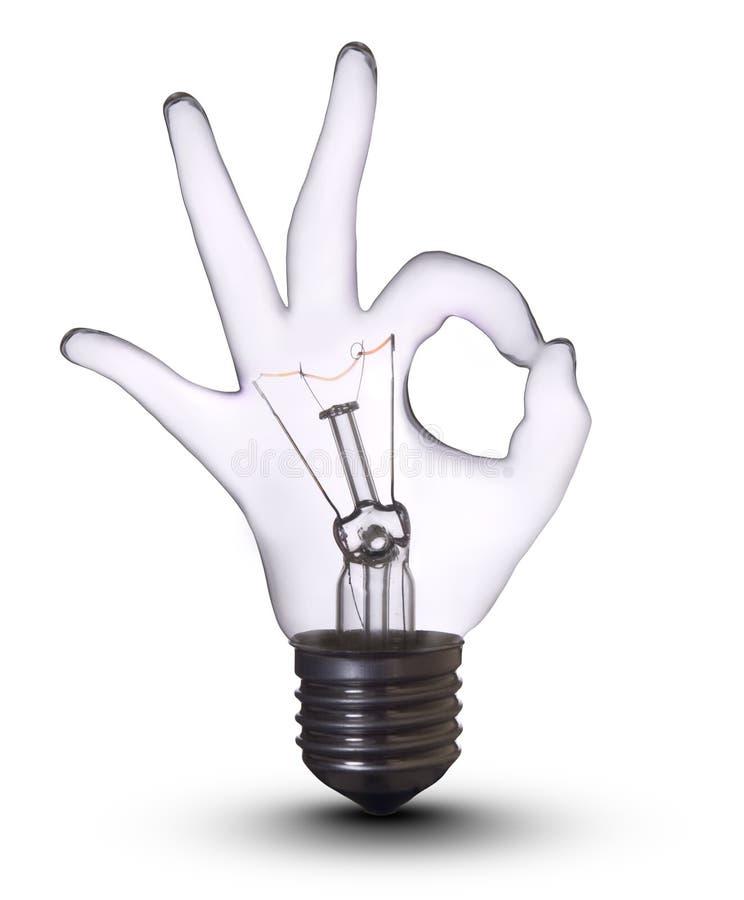 Ok hand lamp bulb royalty free stock photos