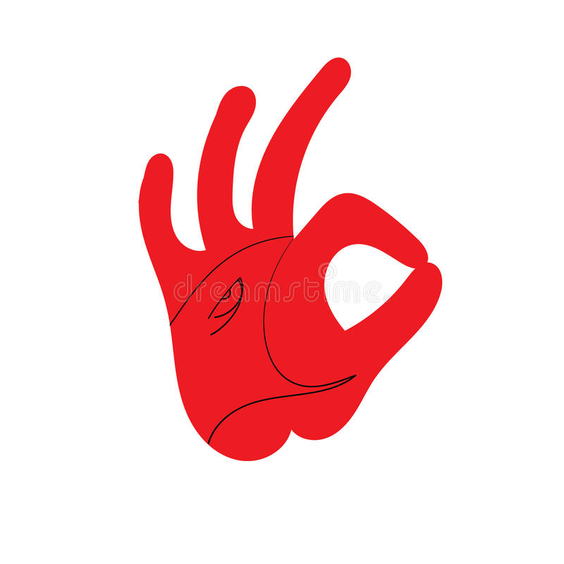 OK hand sign. Design of the head of a Rooster. Rooster. Cock. Abstract rooster logo, icon. Red fire rooster as symbol of new year in Chinese calendar. Vector stock illustration