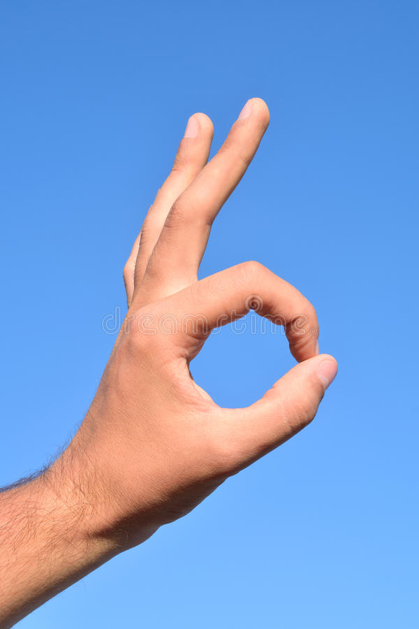 Ok hand symol. Photo shows Hand forming OK sign royalty free stock photo