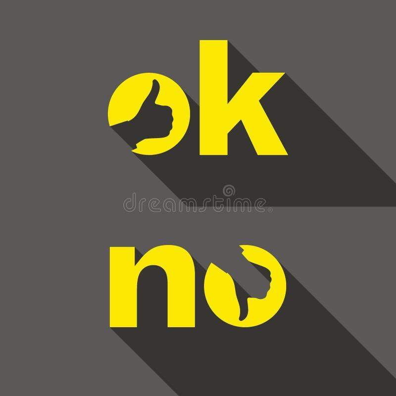 Ok i Żadny symboli/lów znaki Kciuk w górę i na dół ikon royalty ilustracja