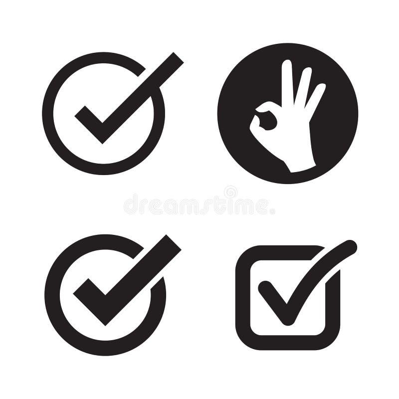 Ok icons set. Black on a white background royalty free illustration