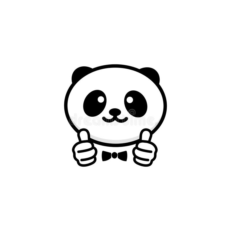 Ok Logo Funny Little Cute Panda Showing Gesture With Hand Abstract