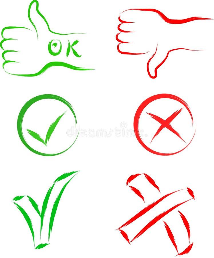 Ok och avbryt tecken royaltyfri illustrationer