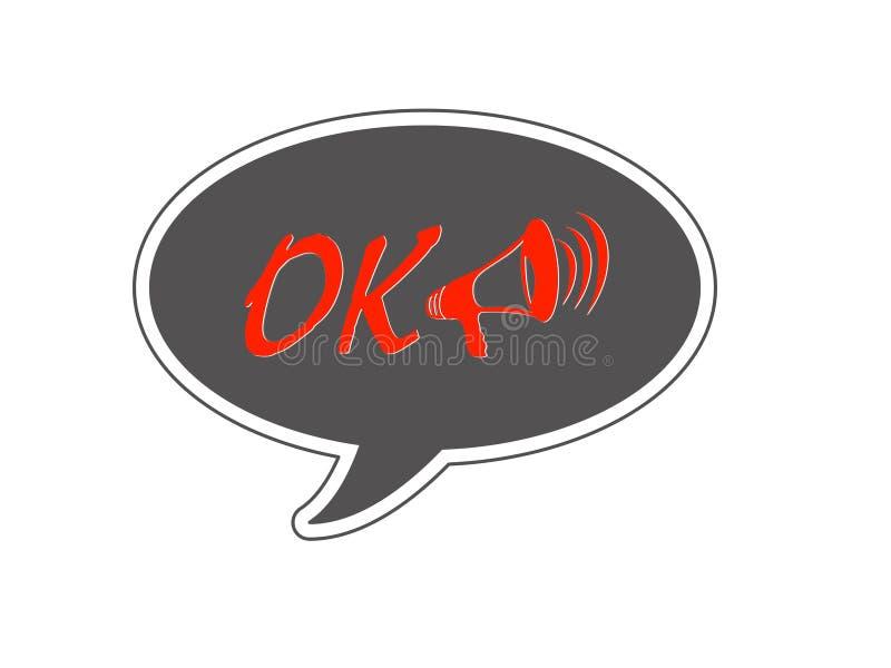 Ok ord och högtalare som är röda på svart vektor illustrationer