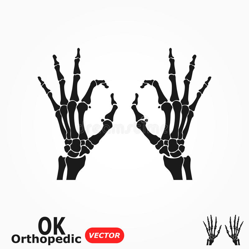 OK orthopedic ( X-ray human hand with OK sign ) stock illustration