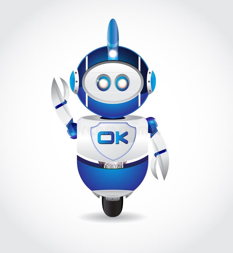 Ok Podpisuje wewnątrz robota kształt ilustracji