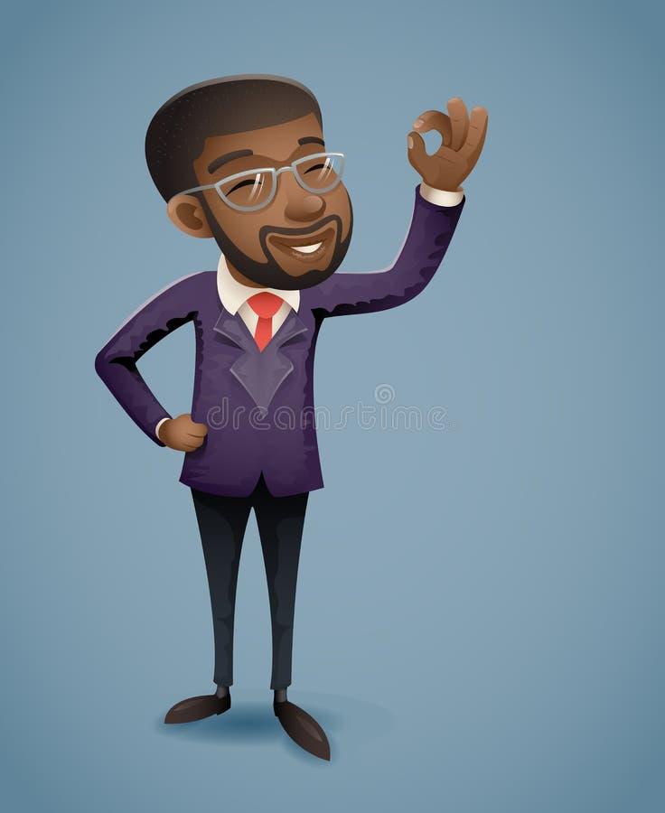 OK ręki Afro biznesmena charakteru prezentaci demonstraci wizytówki powitania Amerykańska Afrykańska Europejska bankowość royalty ilustracja