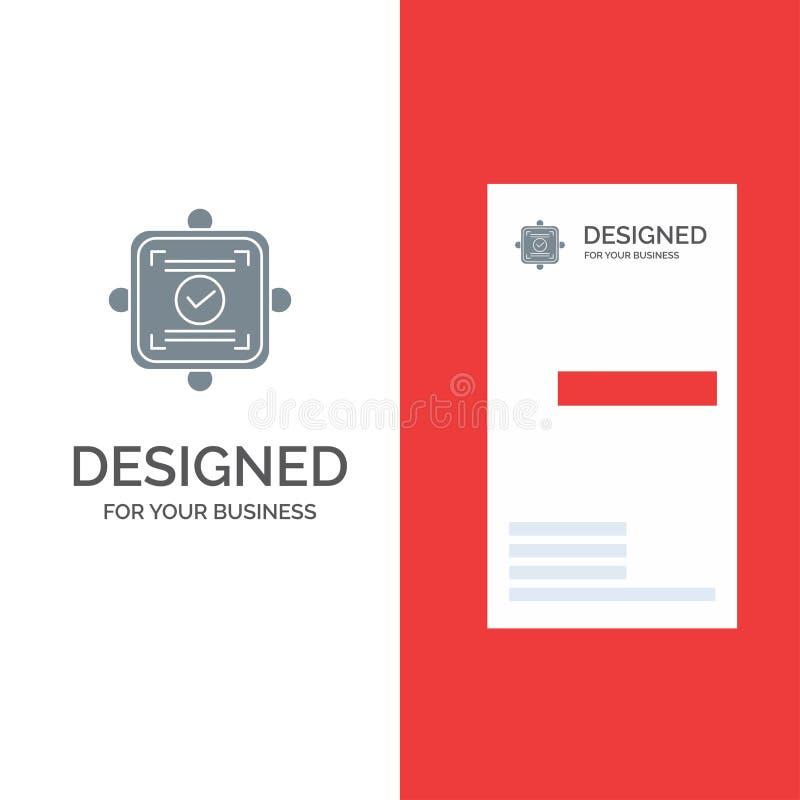 Ok, raport, karta, zgoda logo Popielaty projekt i wizytówka szablon, ilustracji
