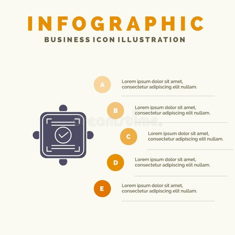 Ok, raport, karta, zgody ikony Infographics 5 kroków prezentacji Stały tło ilustracji