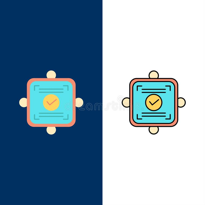 Ok, Report, Card, Agreement  Icons. Flat and Line Filled Icon Set Vector Blue Background stock illustration