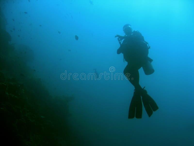 ok sipadan scubatecken för dykare royaltyfria foton