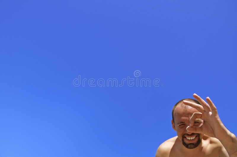OK!Summer fun!. Space for your text,focus point on the left eye and smile royalty free stock photography