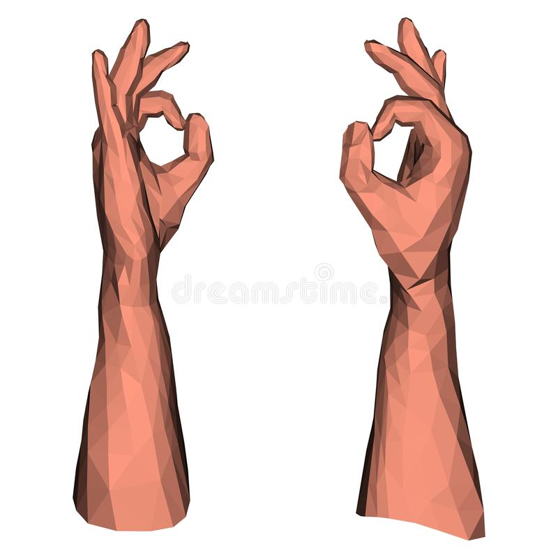 Ok symbol low poly hand stock illustration